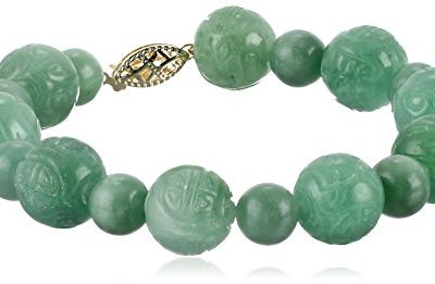 14k Yellow Gold Green Jade Carved Bead Strand Bracelet
