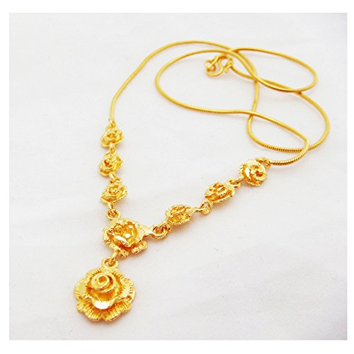 Rose Flower 22k 23k 24k Thai Baht Yellow Gold GP Necklace Jewelry